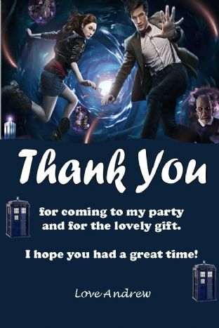 Personalised Doctor Who Thank You Cards